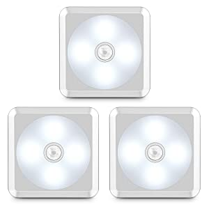 URPOWER Motion Sensor Light, Battery Operated Closet Light Wireless Motion Sensor Closet Lights Stick-on Anywhere Motion Sensor Night Lights for Stair, Cabinet, Closet, Bathroom-Cool White 3 Pack