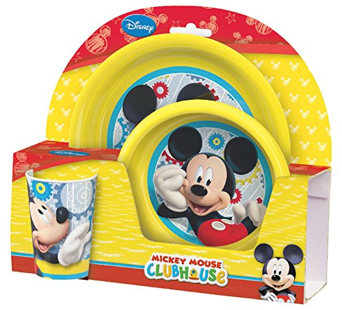 S&B Breakfast Set Mickey Mouse 1 Deep Plate, 1 Flat Plate, 1 Drinking - Mouse Dinnerware Clubhouse Mickey