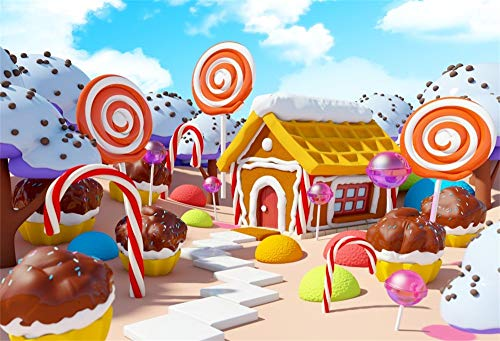 AOFOTO 5x3ft Kids Lollipop Candyland Photo Backdrop Vinyl Wallpaper Newborn Baby Sweet Cake Snow Covered House Candy World Cupcakes Photography Background Birthday Party Decor Photo Studio Props]()