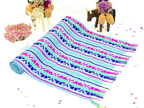 - Blue table runner 14x72, Boho table runner Striped table runner, Mexican theme party, Mexican centerpieces, Wedding Decorations