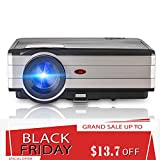 Video Projector, Portable Home Entertainment Theater LED Projector, Indoor Outdoor Video Games Movie Projector 3500 Luminous Efficiency Support 1080p HD USB for PC Laptop Smartphone iPhone TV BOX PS4