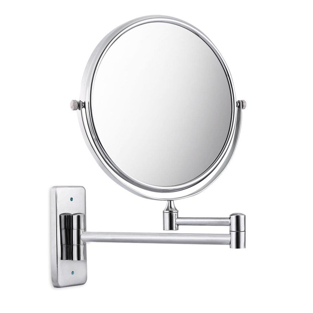 Damaifeng 3X Magnification for Vanity Countertop/European creative bathroom | Double Sides Swivel Wall Mounted Extendable Swivel Fold Copper Makeup Mirror with 6 Inch/8 Inch Square Base (6 inch)