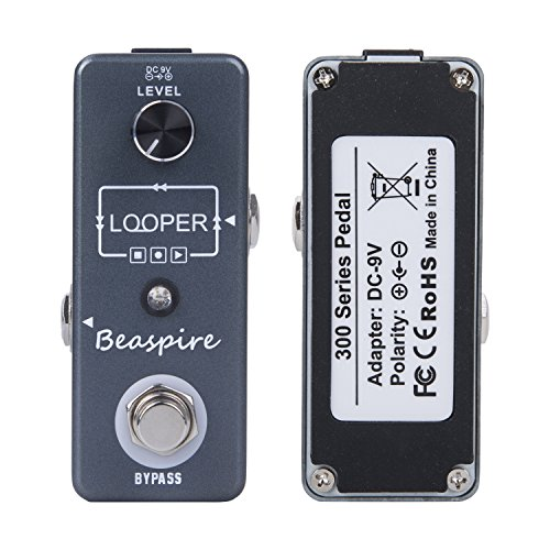 Beaspire Electronic Guitar Looper Effects Pedal USB Cable Software True Bypass Unlimited Overdubs 10 Minutes Recording for Electronic Guitar and - Looper Pedal