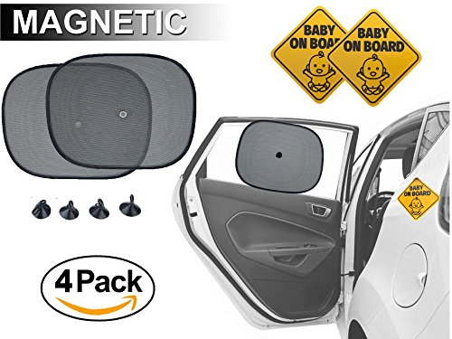 Embrium 2 Baby on Board Safety Reflective Bumper Magnet Signs & 2 Baby Window Shades for Car, Truck, Van (Safety Sunblock Shade)