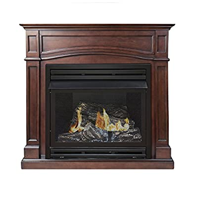 Pleasant Hearth Vent-Free Dual Fuel Fireplace, 45-Inch, Cherry