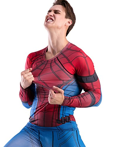 Red Plume Men Cool Dry Compression Long Sleeve Base Layer Shirts, Spider Tee (XL, Spider) ()