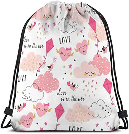 Drawstring Backpack Bag Lightweight Gym Travel Yoga Casual Snackpack Shoulder bag for Hiking Swimming love air valentine s pattern cute pink clouds hearts kite birds stars white Watermark
