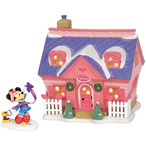 Department 56 Disney Village Minnie's House Lit Building and Accessory St/2, Pink, 5.9 inch