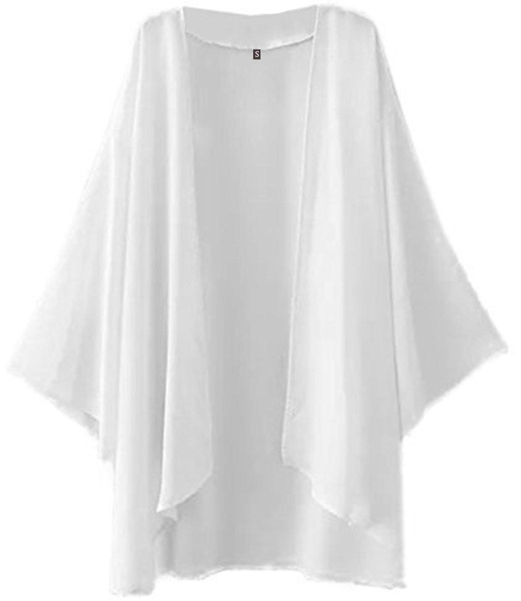 NEW-EC Swimsuits Cover Ups for Girls Women Tops Plus Size White Sheer Chiffon Jacket Kimono Cardigan 3/4 Sleeve L Beach Wear Summer Travel Essentials
