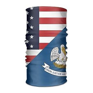 Uosliks Unisex Stylish USA Louisiana State Flag Quick Dry Microfiber Headwear Outdoor Magic Bandana Neck Gaiter Head Wrap Headband Scarf Face Mask Ultra Soft Elastic Handscarf