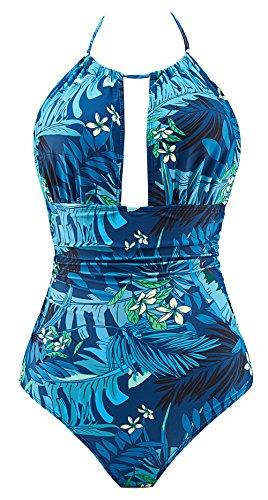 Eomenie One Piece Swimsuits for Women Slimming Monokini Tummy Control Swimwear Plus Size Bathing Suits V Neckline Halter