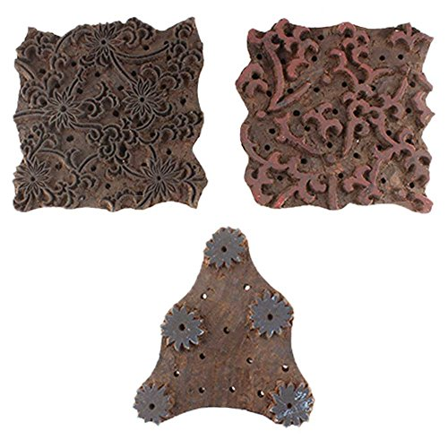 IndianShelf Handmade Set of 3 Piece Brown Wooden Fabric Paper Printing Stamp Textile Canvas Block by Indian Shelf