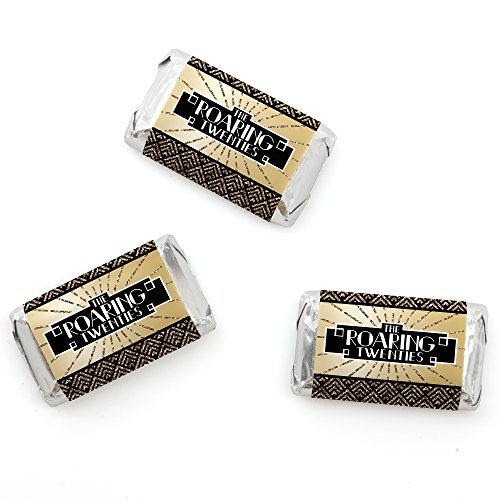Big Dot of Happiness Roaring 20's - Mini Candy Bar Wrappers 1920s Art Deco Jazz Party Favors - 20 Count ()