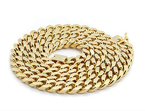 14ct Gold Cuban Link Chain Necklace for Men Real 14MM 14K Karat Diamond Cut Heavy w Solid Thick Clasp US Made. Up to 20X More 14k Gold Plating Than Other Necklace Chains (28)