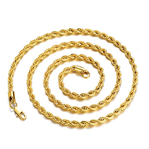 - FEEL STYLE 4mm 18K Gold Plated Stainless Steel Chain Necklace for Men Women Twist Rope French Italian Jewelry 30