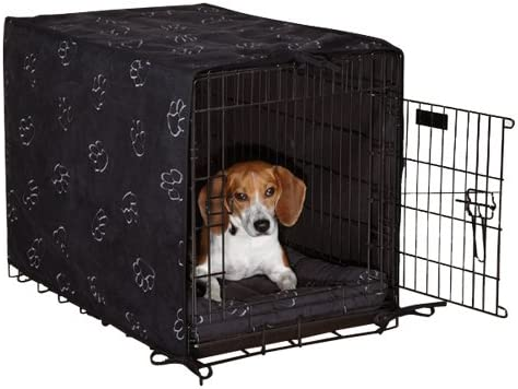 ProSelect Pawprnt 2 Piece Pet Crate Cover Pet Bed Blk
