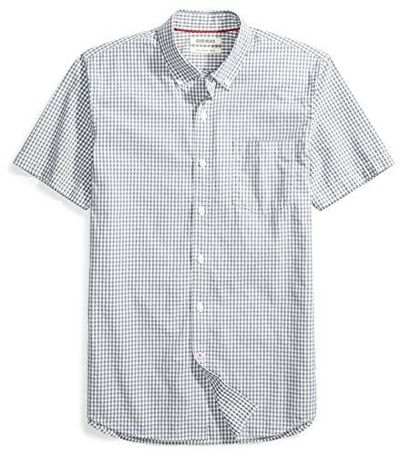 Goodthreads Men's Slim-Fit Short-Sleeve Gingham Plaid Poplin Shirt, White/Grey Micro Check, Large