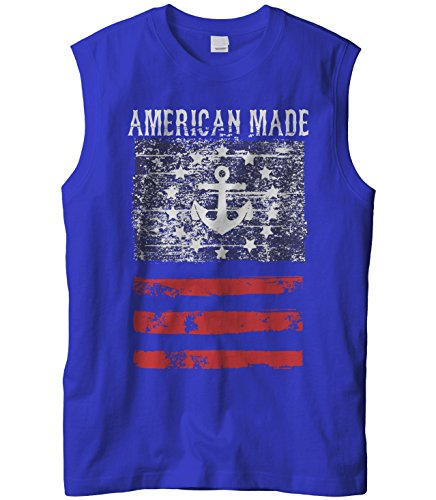 Cybertela Men's American Made Faded Anchor Flag Sleeveless T-Shirt (Royal, Medium)