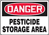 "Accuform MCAW100VA Aluminum Safety Sign, Legend ""DANGER PESTICIDE STORAGE AREA"", 7"" Length x 10"" Width, Red/Black on White"