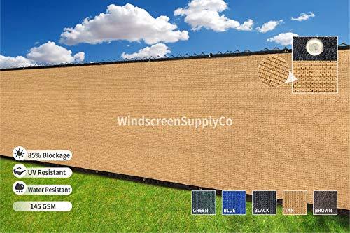 Heavy Duty 6 ft. X 50 ft. Privacy Windscreen Fence Screen Mesh Tarps W/Binding Grommets (1, Tan)
