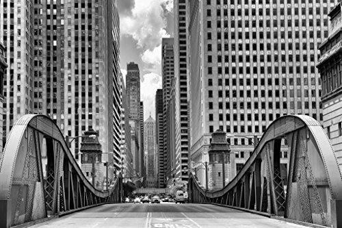La Salle Street Bridge Chicago Illinois Black and White for sale  Delivered anywhere in USA