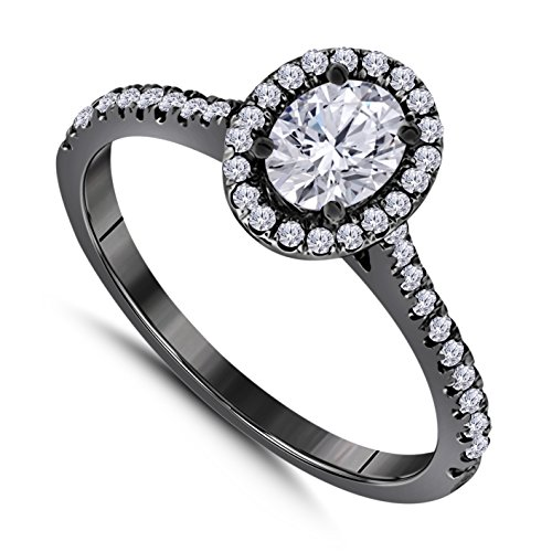 Star Oval Shape Ring - 14k Black Gold Plated Alloy Forever Beautiful Oval Shape CZ Diamond Halo Engagement Ring 1 ct