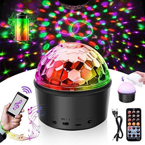 Discobol, LED-partylamp, muziekgestuurd, disco lichteffecten, DJ, 9 W, 9 kleuren, projectie nachtlampje, toon discolamp…