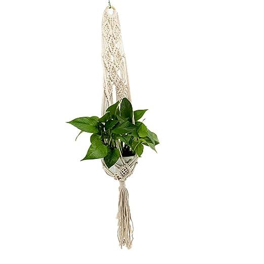 TLZR Jardín decoración Hecho a Mano de Cuerda de algodón Accesorios Jardineras Colgantes para jardín Soporte de Maceta para balcón: Amazon.es: Hogar