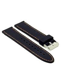StrapsCo 24mm Rubber Divers Textured Watch Band in Black w/ Orange Stitching