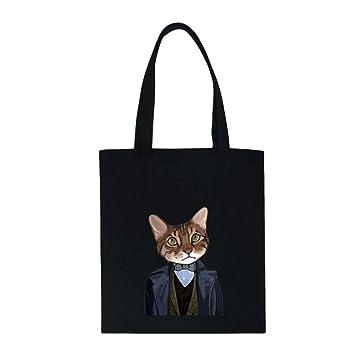 LLAni - Bolso de lona para mujer con estampado de gato Nature: Amazon.es: Hogar