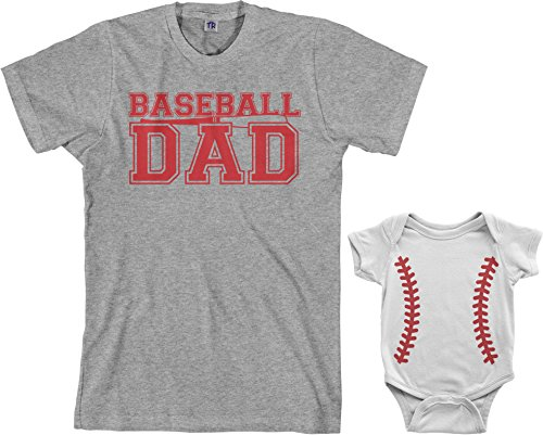 Baseball Dad & Baseball Infant Bodysuit & Men's T-Shirt Matching Set (Baby: 24M, White|Men's: 2XL, Sport Gray) (Baseball 180)