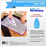 Ezy Housekeeping Protective Ironing Scorch Saving Iron Mesh Pressing Pad Cloth includes a Silicone Iron Rest Mat