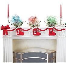 Joy Christmas Stockings Garland with Fiber Optic Greenery