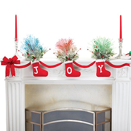 Collections Etc Joy Christmas Stockings Garland with Fiber Optic Greenery