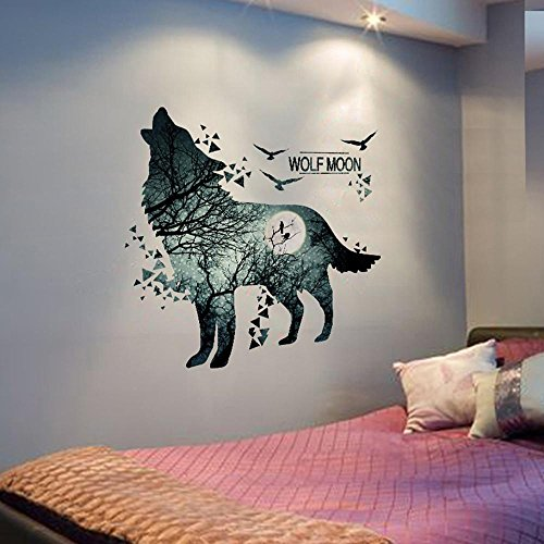 Home decoration Wolf Moon Wall Stickers PVC Material Forest Waterproof DIY Animal Wall Poster for Kids Rooms Decoration Wall Decal ()