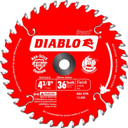 Freud D0436X Diablo 4-3/8-Inch 36 Tooth ATB Cordless Trim Saw Blade with 20-Millimeter Arbor and 3/8-Inch Reducer Bushing