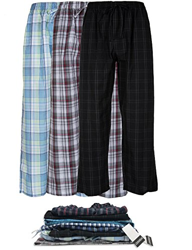 Lounge Bottom - Men's 3 Pack Super Soft Woven Pajama & Sleep Long Lounge Pants (Large, 3 Pack - Assorted Brilliant Plaids)