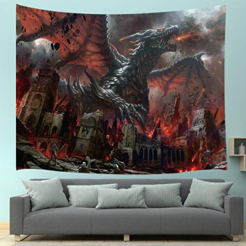 JAWO Fantasy World Tapestry Wall Hanging, Medieval Red Dragon and Human War Mythology Themed Art Tapestries Home Decoration Wall Decor for Bedroom Living Room College Dorm, 71X60 -