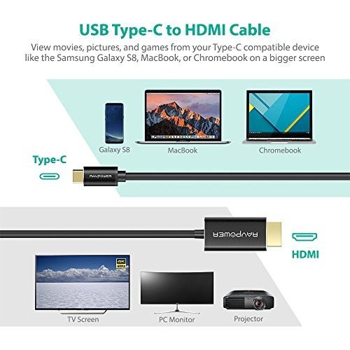 USB C HDMI Cable RAVPower USB Type-C HDMI with 4K Ultra HD Display, USB C Cord with Thunderbolt 3 Dual Displays Support for Media & Gaming, for Galaxy S8, MacBook, Chromebook, and More Type C Laptop