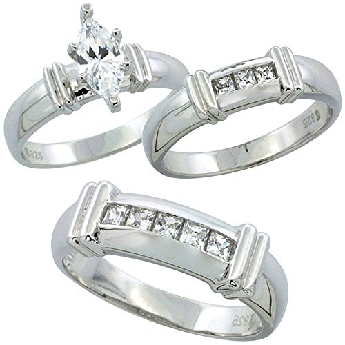 Sterling Silver Zirconia Engagement Princess