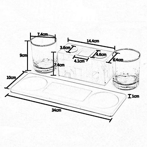 DDSS Bathroom accessories set Crystal Glass Bathroom Shell wash Set Four-Piece Toothbrush Rack Couple Toothbrush Cup /-/ by DDSS Bathroom accessories set (Image #1)