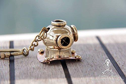 Global Art World Old Mini Art Antique Look Maritime Solid Brass Diving Diver's Helmet Key Ring Key Chain KC - Greek Key Accent Lamp