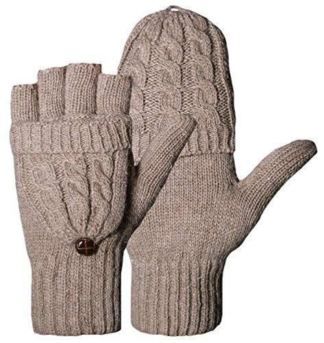 Fasker Women Knit Wool Gloves Fingerless Winter Warm Flip Gloves ()
