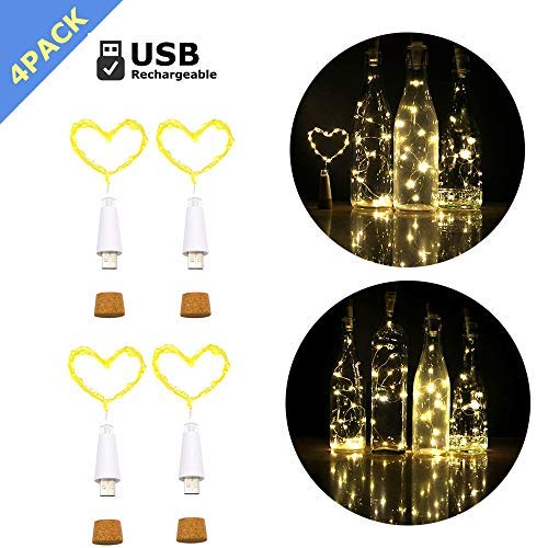 iMazer Wine Bottle Cork Lights, Rechargeable USB Powered Copper Wire String Starry LED Light for DIY,Party,Home Decor,Christmas,Wedding or Mood Lights Wine Bottle Decorations (Warm White 4 Pack) ()