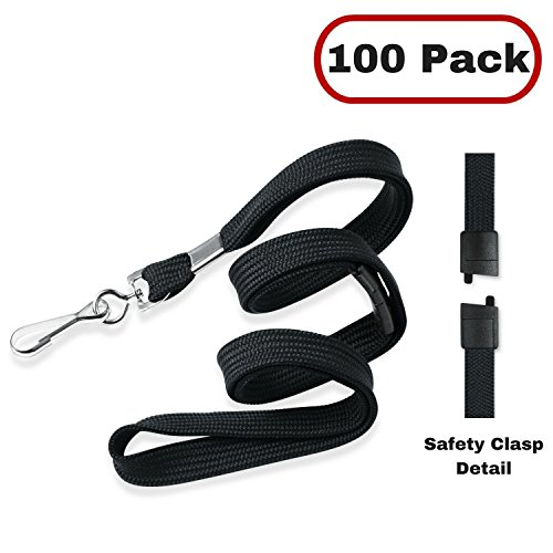 MIFFLIN Flat Breakaway Safety Lanyard for ID Badges, Soft Woven Neck Line (Satin Black, 36 inch, 100 Pack) ()