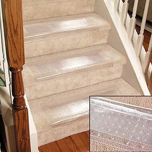 Clear Stair Treads Carpet Protectors Set Of 2 Staircase Step Treads