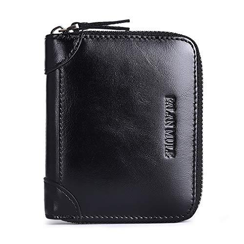 FALAN MULE Wallets For Men Genuine Leather Short RFID Blocking Zip-around Bifold Wallet?Black?