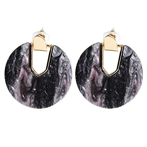 Acrylic Resin Hoop Earrings - Tortoise Shell Earrings for Women Boho Jewelry, Great for Sister, Friends, Mom (Star pattern)