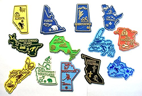 Outline Map Set - All 13 Canadian Map Outline Magnets Complete Set