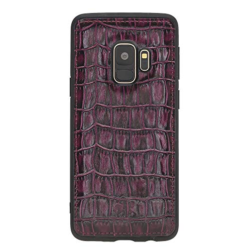 Venito Lucca Samsung Galaxy S9 Leather Case, Snap-On Back Cover for Samsung Galaxy S9 | Slim and Lightweight | Handcrafted Premium Full Grain Leather (Croco Patterned Red)